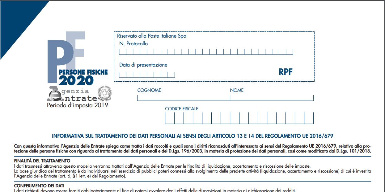 MODELLO REDDITI PERSONE FISICHE 2020: ECCO TUTTE LE NOVITÀ